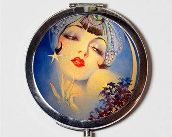 Gypsy Art Deco Moon Compact Mirror - Flapper 1920's Jazz Age Roaring 20s Portrait - Make Up Pocket Mirror for Cosmetics