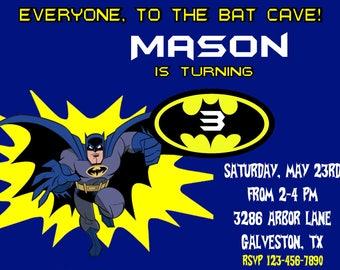 Batman Invitation, Batman Birthday Invitation, Batman Thank You