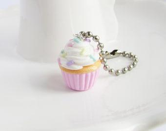 Cupcake charm, Polymer clay cupcake, Cupcake jewelry, Cake charm, Planner charm, Progress keeper, Stitch marker, Christmas gift, Food charm