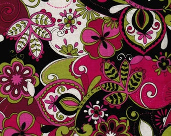 Jaqueline Floral Pink Green Black Cotton Fabric BTY.