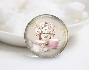 10mm 12mm 14mm 16mm 18mm 20mm 25mm 30mm Handmade Round Photo Glass Cabs Cover-Flower (P2105)