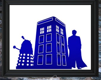 "New 8""x10"" Foil Art!  Dr. Who w/ TARDIS and Dalek"