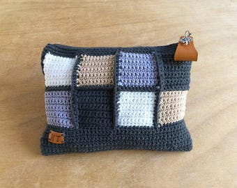 Hand-made square necessaire envelope with crochet work