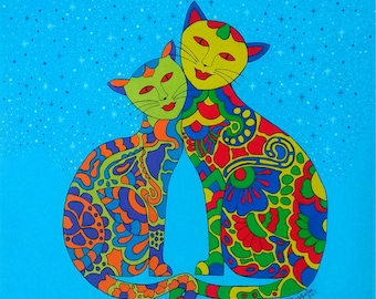 Lovely Cat-Original Abstract Painting-Acrylic-Canvas-Fine Art-Hand Painted-Signed