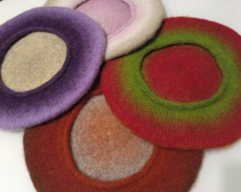 beret wool, beret knitted, beret felted beret bright, comfortable takes, takes beautiful