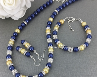 Navy Jewelry Bridesmaid Gift Maid of Honor Jewelry Yellow Necklace Pearl Necklace Bridal Party Jewelry Wedding Jewelry on Sale