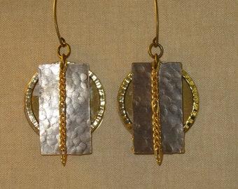 Metal Layered Earrings.