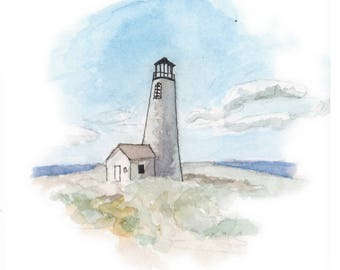 Nantucket Lighthouse Watercolor Painting Great Point