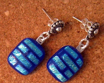 Dichroic Post Earrings Fused Glass Earrings Dichroic Jewelry Fused Glass Jewelry Glass Earrings Glass Jewelry