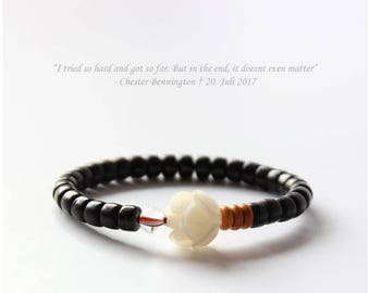 Black bracelet with White rose as a stone made of coconut