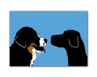 Impression noir Labrador avec Bouvier montagne chiens impression Face à face - tirage d'art, deux chiens, décor de chiens, silhouette noire, amant d'animal familier