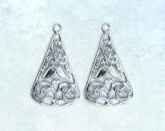 Antiqued Silver Chandelier Floral Pendant Earring Component Chandelier Connector Floral Chandelier Earring