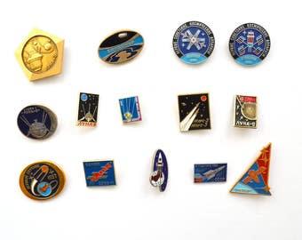 Space enamel pins, metal badges, Vintage Soviet memorabilia 1960s, USSR sputnik spacecraft space exploration lunokhod moon cosmonaut rocket