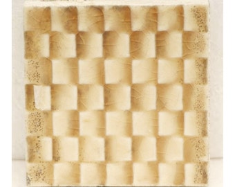 Checked small square tan tile