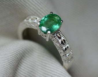 Emerald Ring, Natural Emerald Solitaire 0.90 Carats Certified At 725.00, Sterling Silver, Genuine Real Emerald Jewelry, May Birthstone, Oval