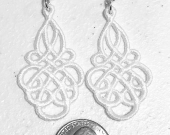 lace earrings flourish earrings embroidered