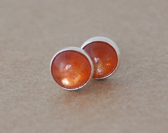 Sunstone Earrings with Sterling Silver Studs. 5mm Cabochon Gemstone Earrings