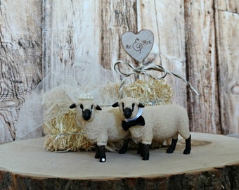 Sheep-lamb-whimsical-woodland-wedding-cake topper-farm-animal-folk-western-country-bride-groom-Mr and Mrs-custom-kissing-rustic-livastock