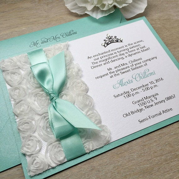 Sweet 16 quinceanera paper lace alexis white rosette sweet sixteen invitation white rosettes and aqua ribbon with swarovski crystals stopboris Choice Image