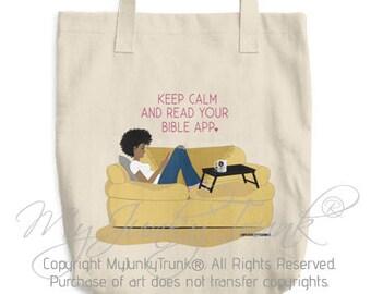 Bible App- Natural Hair Art Black Woman Canvas Tote Bag