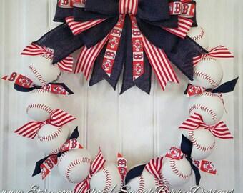 Boston Red Sox Inspired Baseball Wreath - MLB - Front Door Wreath- Baseball Wreath- Burlap bow- Baseball decor