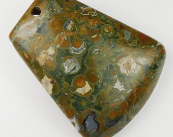 Rainforest Jasper Pendant Bead - 49x41x9mm