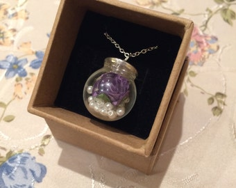 Purple rose and pearls in 20mm Glass ball necklace