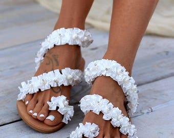 "Sandals ""Beloved"", Handmade Sandals, Wedding Sandals, Greek Leather Sandals, Luxury Sandals, Pearl sandals"