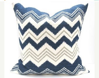 15% Off Sale Blue Chevron pillow  Blue Euro Pillow Floor Pillow Gray Pillow Covers Floor Seating Chevron Burlap Pillow Designer Pillow Cover