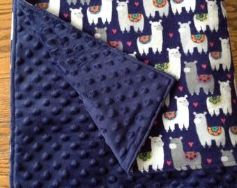 "Fancy Llamas Minky and Flannel Baby Blanket 28""x38"" Navy Blue"