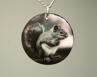 Black and White Fuzzy Squirrel Photo Pendant - I Love Earth