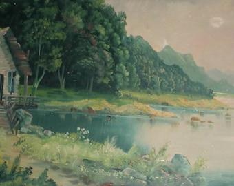 Antique large oil painting impressionist landscape riverscape