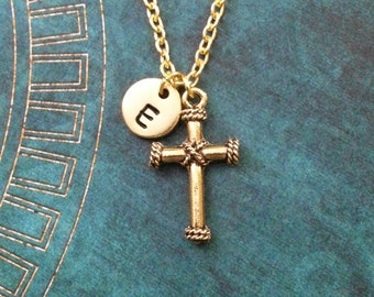Cross Necklace SMALL Gold Cross Charm Necklace Cross Jewelry Christian Jewelry Easter Jewelry Christian Necklace Cross Pendant Necklace
