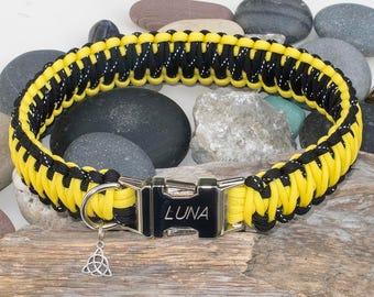Yellow & Reflective Black Engraved Dog Collar - Free Engraving