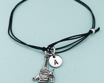Gnome cord bracelet, gnome charm bracelet, adjustable bracelet, charm bracelet, personalized bracelet, initial bracelet, monogram