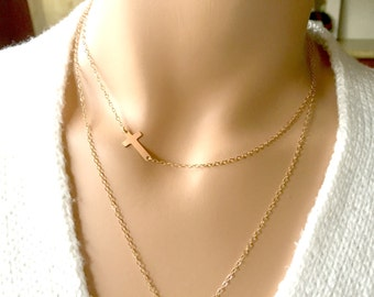 14k Cross Necklace, Choker Necklace, Rose Gold Cross Necklace, 14k Rose Gold Fill Chain, Simply, Minimal, Delicate Necklace