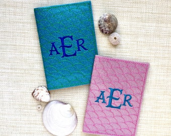 Passport Holder Mermaid Monogram - Turquoise Sparkle Passport Cover- Personalized Passport Covers - Travel Gift for Destination Wedding