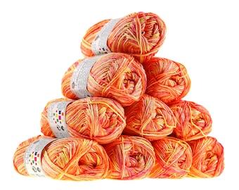 10 x 50g knitting yarn wool cotton Symbiosis #9032 Yellow-beige-orange