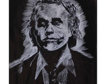 Original Ink Wash Drawing Joker Portrait