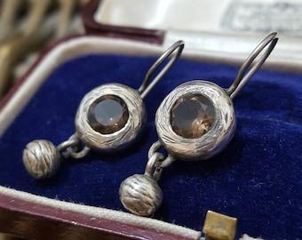 Vintage Sterling Silver Earrings, Smoky Quartz, Possibly Kara Varian Baker