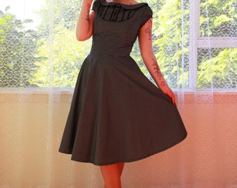 """1950s Retro """"Mary"""" Office Dress with Full Skirt, Peter Pan Collar and Puff Sleeves - Any Colour -Custom made to Fit"""