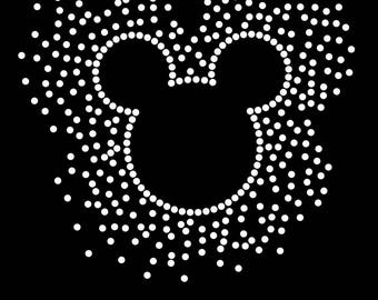 """Choice of 6.3"""" Mickey Mouse iron on scatter rhinestone transfer bling applique patch"""