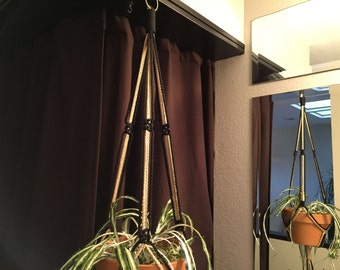 """Medium Macrame Plant Hanger 40"""" or 45"""" Long Made in USA Black and Sand"""