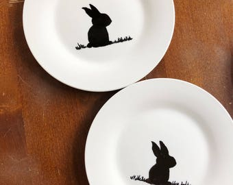 Set of 4 Easter Bunny Appetizer Plates