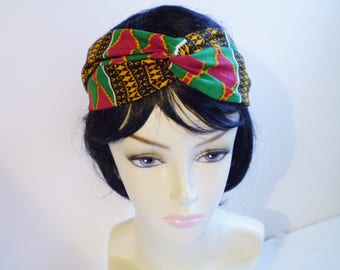 Red Green African Turban Red Green African Headband, African Twist Headband, African Twisted Headband, African Turban Headband