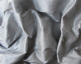 Grey wedding bridal shantung raw silk fabric number 742  - yard or meter