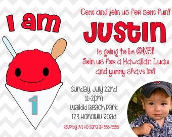 Hawaii, Baby 1st Luau, Shave Ice, Birthday, Photo Invitation, Printable