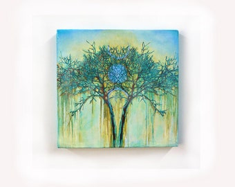 "SOLD. Made To Order 28""x29"" Original Oil Painting, Wall Art, Blue Tree Painting, Contemporary Art, Decor, Forest Painting, Wall Hanging"