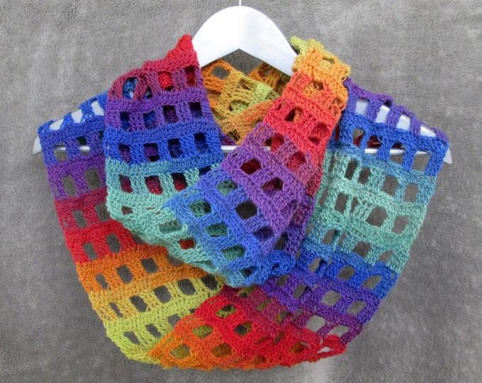 Rainbow Infinity Windowpane Scarf - Neurodiversity - Pride - LGBT
