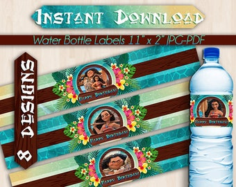 Moana Maui Water Bottle Labels, Instant Download, Pdf jpg